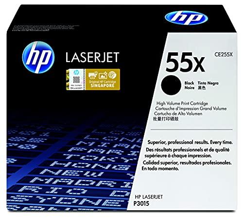 HP 55X CE255X, Negro, Cartucho Tóner de Alta Capacidad Original, de 12.500 páginas, para impresoras HP LaserJet Enterprise serie P3010, P3015, 500 MFP 525 y LaserJet Pro 500 MFP M251