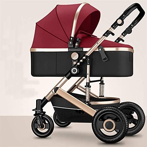 YZPTD Cochecito Infantil de Alto Paisaje, Cochecito Reversible, con Convertible, carruaje Reversible para bebés, Cochecito Plegable con Cesta de Almacenamiento y reposabrazos extraíbles