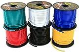 GS potencia de calibre 16GA, 6rollos de 100Pies (total de 600') Car Audio y vídeo de primaria remoto Turn On Hook Up alambre (Cable Set Color: Negro Rojo Azul Púrpura Blanco Amarillo)