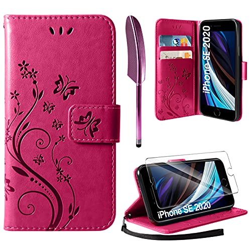 AROYI Lederhülle Kompatibel mit iPhone SE 2020 / iPhone 7/8 Hülle & Schutzfolie, Flip Wallet Handyhülle PU Leder Tasche Kartensteckplätzen Schutzhülle Kompatibel mit iPhone SE 2020 Rosenrot