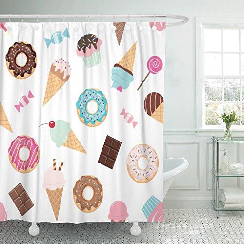 Emvency Duschvorhang mit bunten Geburtstagssüßigkeiten, Eiscreme, Donuts, Cupcakes, Schokoladenriegel, wasserdichtes Polyestergewebe, 152,4 x 183,9 cm, Set mit Haken
