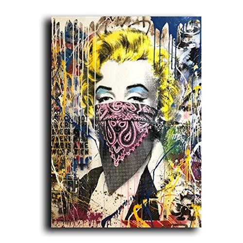 BGFDV Graffiti Street Pop Art Marilyn Monroe Velo Lienzo Pintura nórdica África Pared Arte Imagen decoración Sala de Estar