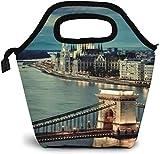 Budapest Chain Bridge y Danubio Hungría Bolsa de almuerzo aislada Caja de Bento personalizada Enfriador de picnic Bolso portátil Bolsa de almuerzo para mujeres, niñas, hombres, niños
