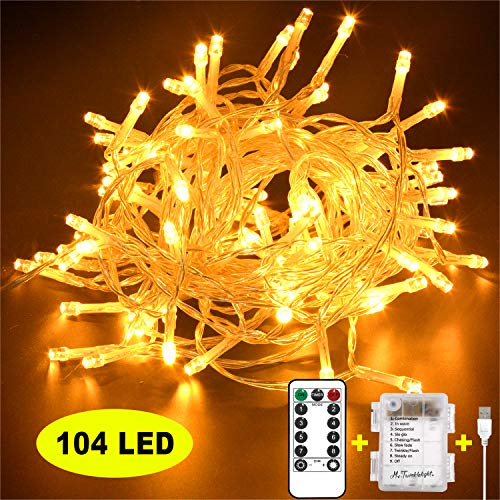 Mr.Twinklelight® LED Lichterkette, 104 LED Lichterkette USB/Batteriebetrieben 8 Modi Ideal für Christmas, Festlich,Geburtstag, Hochzeiten, Party Dekoration etc