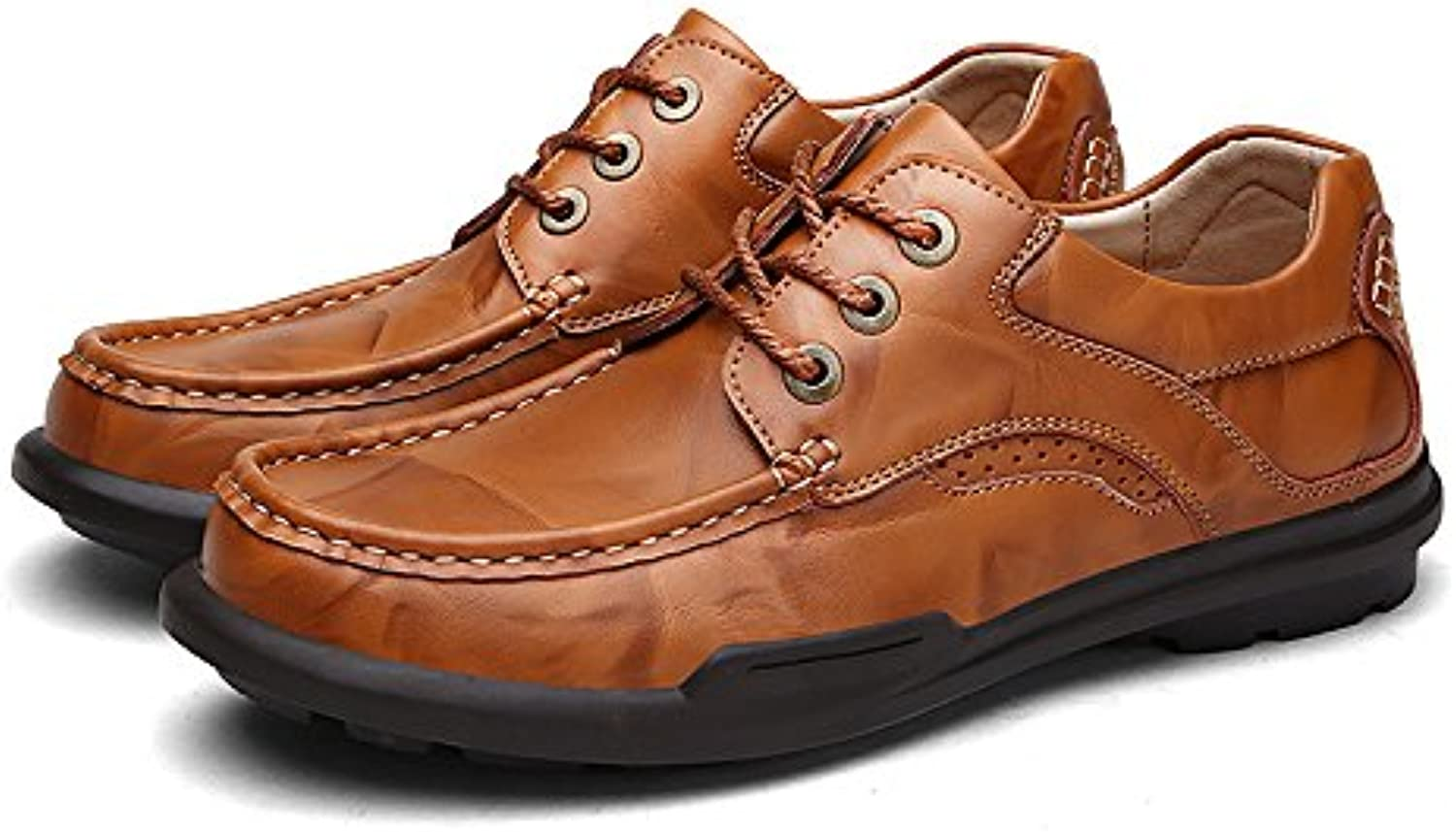 Men's fashion casual leather shoes fashion shoes lace round fashion shoes all-match England,brown,Forty-four