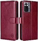 FMPCUON Hülle für Xiaomi Redmi Note 10 Pro/Redmi Note 10 Pro Max Handyhülle [Standfunktion] [Magnetverschluss] Tasche Flip Hülle Schutzhülle lederhülle flip case für Rot
