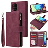 LBYZCASE Galaxy A71 5G UW Wallet Case[NOT for A71 5G],Luxury Folio Flip PU Leather Phone Cover[Zipper Pocket][Magnetic Closure][Wrist Strap][Kickstand ] for Samsung Galaxy A71 5G UW (Wine Red)