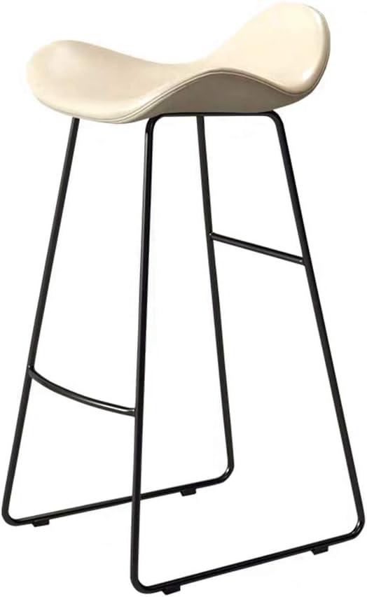 Taburetes De Barra De Altura De Pub, Sillas De Taburete Pub De Asiento PP Cocina Infantil Modern Cocina Altas Sillas De Comedor Con Patas Metálicas Tapiza(Size:65cm,Color:Style-black legs+white seat)