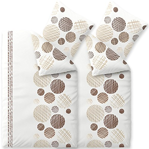 aqua-textil Trend Bettwäsche 135x200 cm 4tlg. Baumwolle Bettbezug Cleo Punkte Streifen Weiß Braun Beige