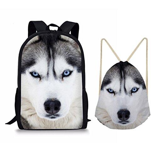 showudesigns Student Schule Set umfasst Schultasche Rucksack Tasche mit Kordelzug Amimal Muster M Husky Set