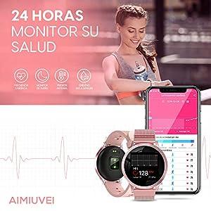 AIMIUVEI Smartwatch, Reloj Inteligente con Pulsómetro, Impermeable IP67, Presión Arterial, Monitor de Sueño Calorías, Podómetro, Reloj Deportivo Hombre Mujer para iOS y Android