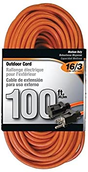 Rocky Mountain Cable Outdoor Extension Cord Orange 3 Prong - Heavy Duty Vinyl 10 Amps / 1250 Watts - 16/3 - Ultra Flexible Water Resistant Flame Retardant -Reinforced for Durability  100 feet
