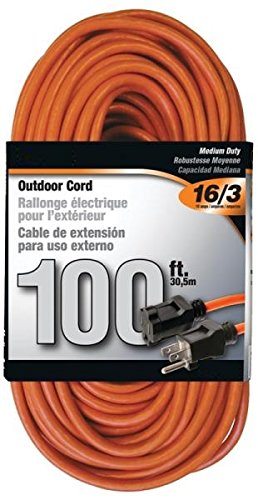 Rocky Mountain Cable Outdoor Extension Cord Orange 3 Prong - Heavy Duty Vinyl - 16/3 - Ultra Flexible, Water Resistant, Flame Retardant - Weather Resistant - Reinforced for Durability (100 feet)