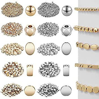 1800 Pieces Assorted Spacer Beads Rondelle Shape Cube Beads Tube Column Beads Flat Disc Loose Beads Round Ball Beads for Earring Bracelet Necklace DIY Jewelry  Gold Silver