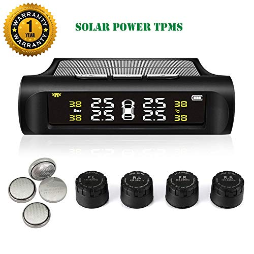 TPMS Tire Pressure Monitoring System Solar Power Universal Wireless Car Alarm System LCD Display with 4 External Sensors (Solar Power_External TPMS)