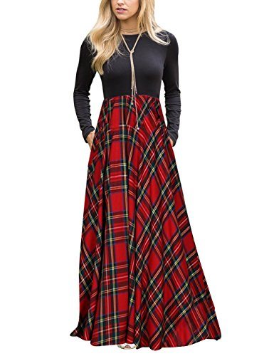 MEROKEETY Women's Plaid Long Sleeve Empire Waist Full Length Maxi Dress with Pockets