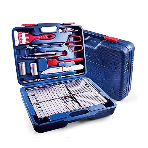 Juego de herramientas para parrilla de barbacoa de 9 piezas, accesorios de barbacoa con branquias plegables, caja de herramientas de accesorios de parrilla de barbacoa de 38 * 30 * 10 cm para acampar