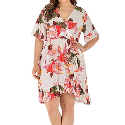 NOBRAND Temperament Floral Large Size V-Ausschnitt Kleid Sommer Loose Fashion Gr. XXXL, weiß