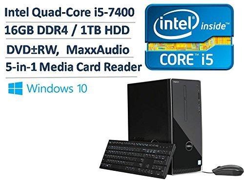 2017 Newest Dell Inspiron 3668 Premium High Performance Business Desktop - Intel Quad-Core i5-7400 3.0GHz, 16GB DDR4, 1TB HDD, DVDRW, Bluetooth, HDMI, WLAN, MaxxAudio, 5-in-1 Media Card Reader, Win 10