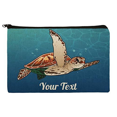 Personalized Custom 1 Line Sea Turtle Pencil Pen Organizer Zipper Pouch Case