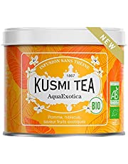 Kusmi Tea - Infusión Bio AquaExotica - Mezcla de Hibisco y de Manzana Aromatizada con Frutas Exóticas - Infusión sin teína afrutada y deliciosa - Lata de té de metal 100g