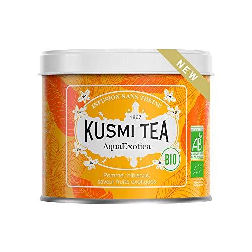 Kusmi Tea - Infusion Bio AquaExotica - Mélange d'Hibiscus et de Pomme Aromatisé Fruits Exotiques - Infusion sans Théine Fruitée et Gourmande, à Déguster Chaud ou en Thé Glacé - Boîte Thé Métal 100 g