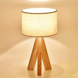 Mengjay Lámpara de mesa de noche Lámpara de mesa moderna - Lámpara de luz nocturna minimalista con pantalla de tela Lámpara de mesita de noche con base de madera para sala de estar