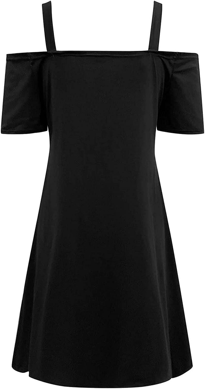 Women Summer Cold Shoulder T Shirt Dress Strapless Casual Dress Zipper Closure V-Neck Strapless Sexy Sling Short Dress