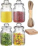 4 jarras de almacenamiento conjunto de vidrio de 1,2L de tamaño - Hermético con sello - Jarra de almacenamiento de almacenamiento de alimentos