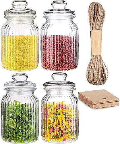 4 Vorratsdosen Set Glas 1,2L Groß - Luftdicht mit Dichtung - Vorratsglas Vorratsbehälter für Lebensmittel