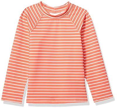 Amazon Essentials UPF 50+ Little Girl's Long-Sleeve Rashguard, Red & Pink Stripe, Small