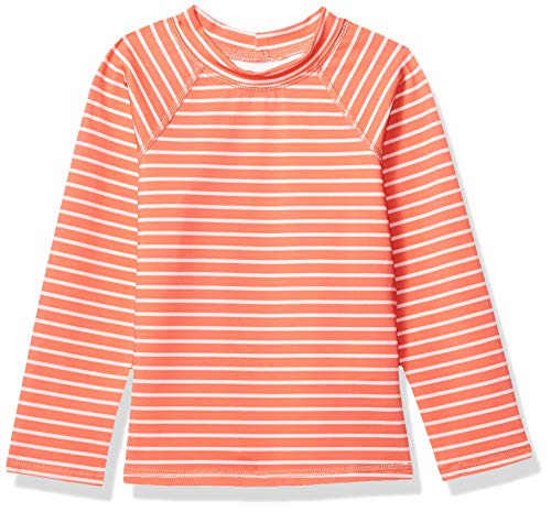 Amazon Essentials UPF 50+ Little Girl's Long-Sleeve Rashguard, Red & Pink Stripe, Small