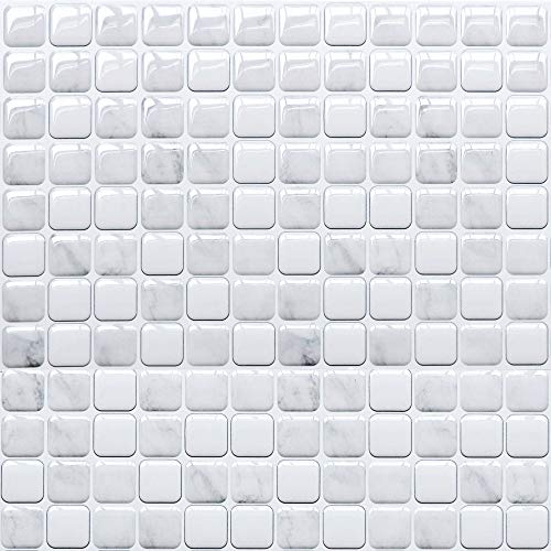 Yoillione 3D Effect Peel and Stick Wall Tiles for Kitchen and Bathroom, Waterproof Grey Mosaic Tile Stickers, Vinyl Backsplash Tiles Self Adhesive Tiles, 4 Sheets