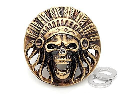 CRAFTMEMORE CHS24 Indischer Kopf Totenkopf Concho Schraubverschluss Tribal Cheif Coin Conchos Lederwaren CHS24 (Bronze), 2 Stück