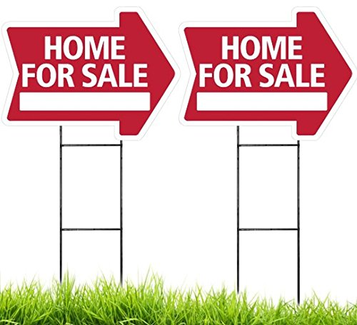 Home for Sale Arrow Shaped Sign Kit - 2 Pack (Includes 2 Signs and 2 Stakes) (Red) Durable Coroplast UV Colorfast Ink 18x24 Real Estate Supplies, Made in The USA Unconditional Guarantee