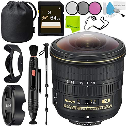 Nikon AF-S Fisheye NIKKOR 8-15mm f/3.5-4.5E ED Lens Base Bundle