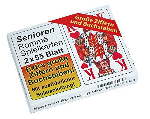 Senioren Kartenspiel Set - 1 x Senioren Rommee und 2 x 32 Blatt Skat, EXTRA GROßE ZIFFERN UND ZAHLEN !!!