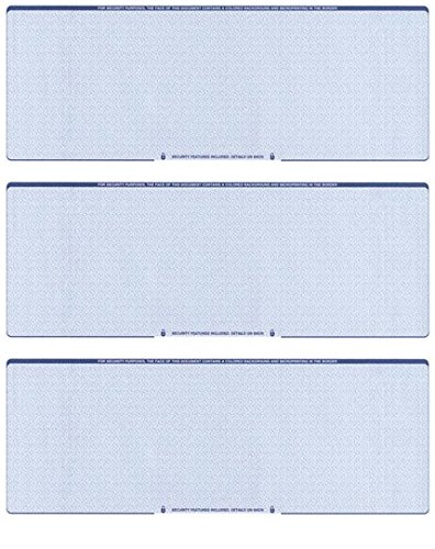Blank Checks Paper Stock-Checks 3 On A Page-100 Per Pack (Blue...