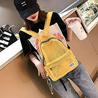 WTYD Double Shoulder Bag 2 in 1 Fashion Mesh Multi-Function Double-Shoulder Bag Casual Shool Backpack Bag (Black) (Color : Yellow)