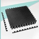 ZERRO CCLIFE Esterilla Puzzle para Suelos de Gimnasio y Fitness 60x60x1cm Suelo de Gimnasio de Goma Espuma EVA, Color:Negro 8pcs