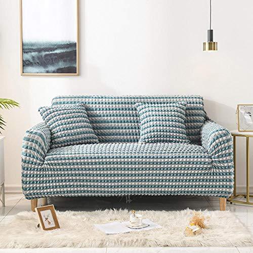 Fsogasilttlv Funda Antideslizante Protector Universal para Muebles Azul 1 3 plazas, Funda de sofá de Rayas elásticas para Sala de Estar Seersucker, elásticas para sofá, Forma de L, 190-230 cm1PCS