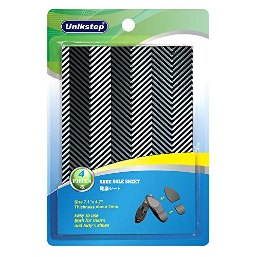 Unikstep 2 Pairs Shoe Sole Repair Rubber Sheets, Shoe Bottom Outer Front Sole and Heel Replacement Pads, Anti Slip Noise Reduction Grips, Non Skid Protectors, Size 7.1x4.7 Inches