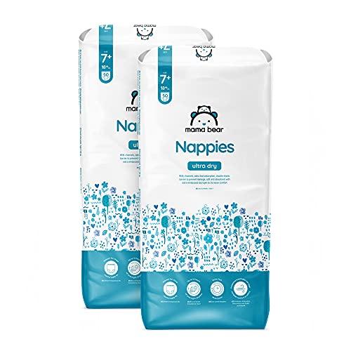 Marca Amazon - Mama Bear Pañales ultra-secos - Talla 7+ (18+ kg) - Con canales - 100 pañales (2 bolsas x 50) - Nueva versión