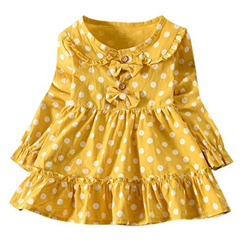 Bébé Enfant Fille Manches Longues Plissé Polka Dot Manches Longues Arc Polka Dot Imprimer Princesse Robe Robe Robe Cadeau D'anniversaire (XL, Jaune)