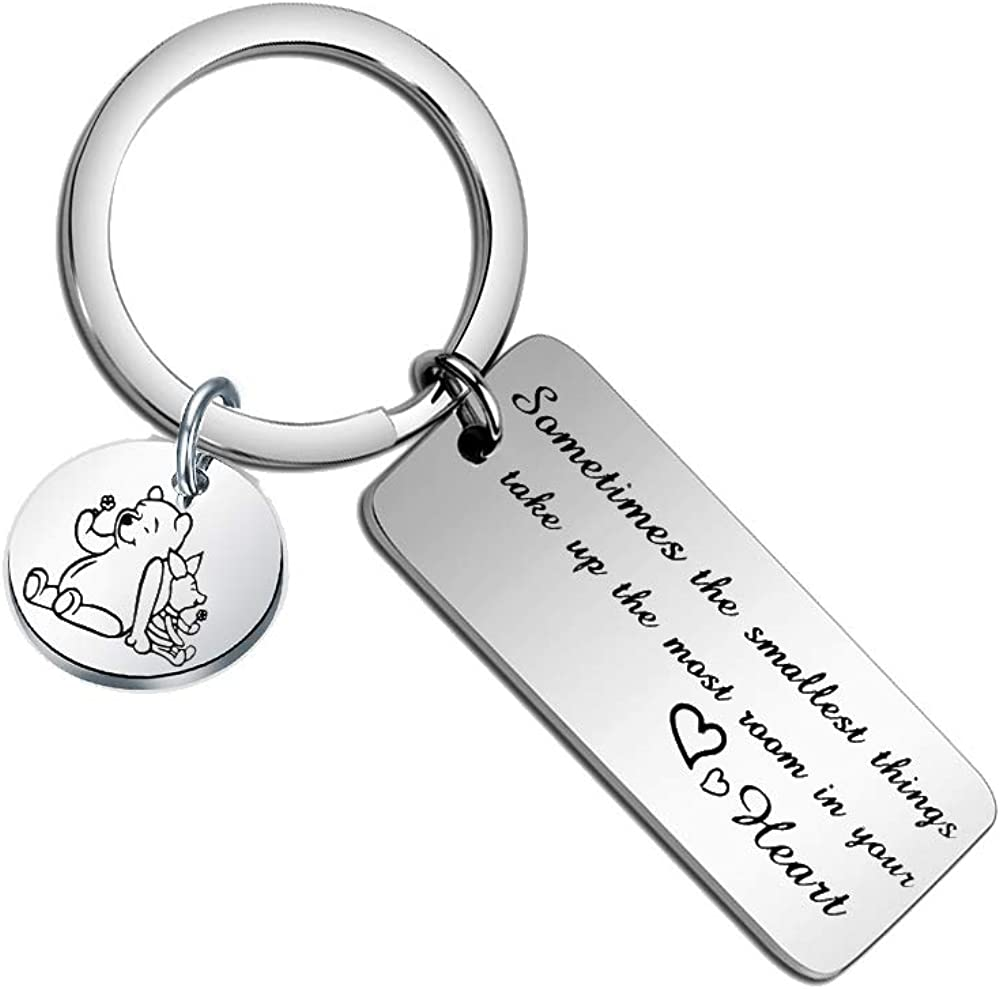 Belingry Pooh Quote Keychain Gift for Best Friends Sometimes The Smallest Things Take up The Most Room in Your Heart