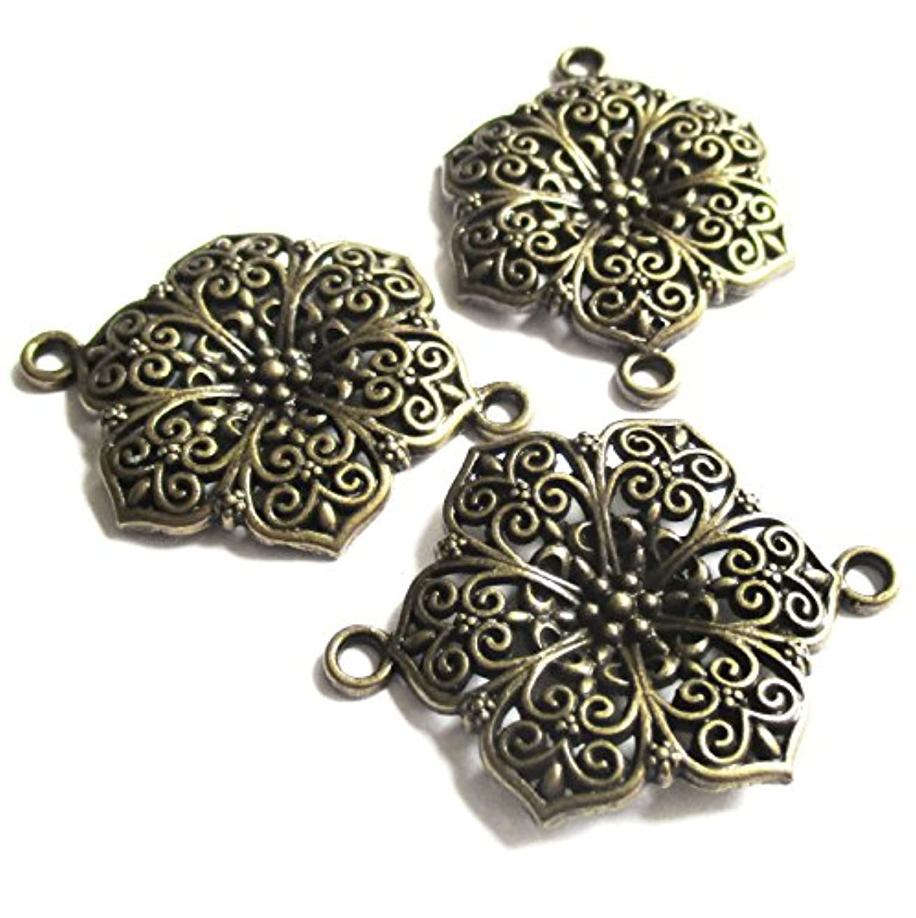 Heather's cf 15 Pieces Brass Tone Hollow Pattern Flower Spacer Connector Findings (2 Holes)Jewelry Making 41X29mm iyilqd1176763894