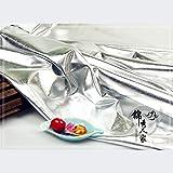 SQINAA Tela Metálico Brillante Paño Espejo Espejo Aluminio High Stretch Lame Tricot Craft Display Decor Beautiful Bright Delicate 150X100cm,Plata