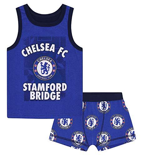 Chelsea FC - Jungen Unterwäsche-Set - Boxershorts & Unterhemd - Offizielles Merchandise - Geschenk für Fußballfans - 6-7Jahre