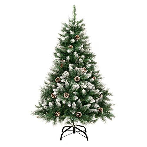GIGALUMI 1.2M künstlicher Weihnachtsbaum mit Schnee und echten Tannenzapfen feuerfester Tannenbaum, inkl. Christbaum Ständer