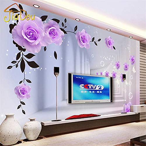 Zhcm Tapete 3D Tapete 3D Relief Tapete Tapete Europa 3D Lila Rose Große Wohnzimmer Schlafzimmer TV Hintergrundbild, 200 * 140